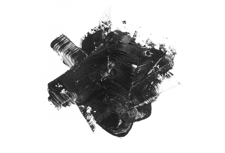 Abstract black stain and brush stroke isolated on white background. Imagens