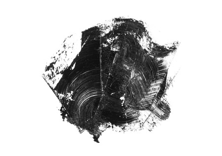 Abstract black grunge stain and brush stroke isolated on white background.