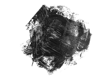Abstract black acrylic stain and brush stroke isolated on white background.