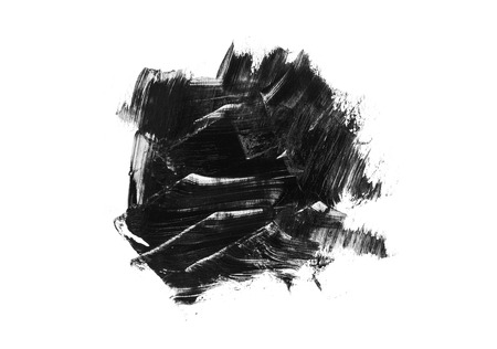 Abstract black stain and brush stroke isolated on white background. Acrylic brush drawing.
