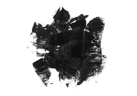 Abstract black stain and brush stroke isolated on white background. Black acrylic brush drawing.