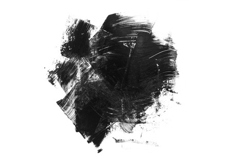 Abstract black grunge stain and brush stroke isolated on white background. Black acrylic brush drawing. Imagens