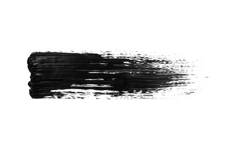 Black acrylic brush stroke isolated on white background. Abstract handmade drawing brush line.