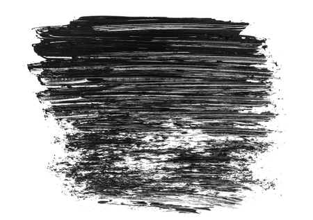 Abstract black grunge stain and brush stroke isolated on white background. Black acrylic brush drawing element. Imagens