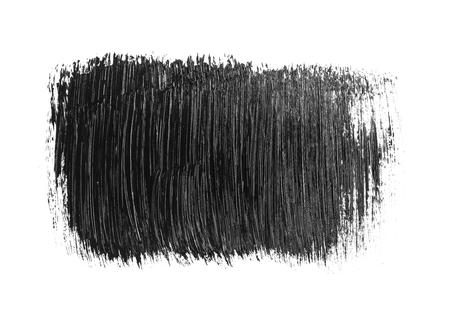 Black stain and brush stroke isolated on white background. Black acrylic brush drawing element. Imagens