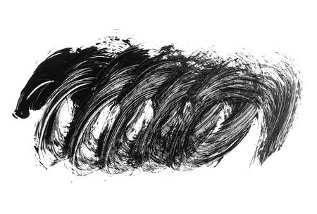 Black brush stroke and scribble isolated on white background. Black acrylic brush drawing element. Imagens