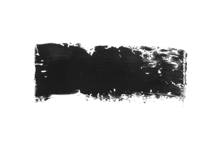 Black acrylic stroke isolated on white background. Black brush drawing element.