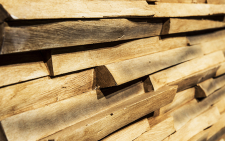 Dry pine wood boards texture background. Angle view.