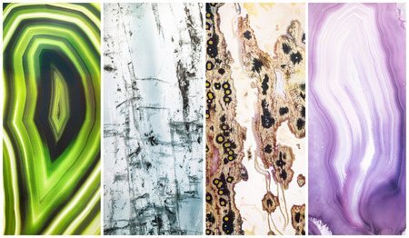Set of colourful decorative glass panels with abstract green, blue, purple, white pattern for design interior. Imagens