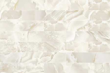 White and beige rectangle marble wall tile texture background. Imagens