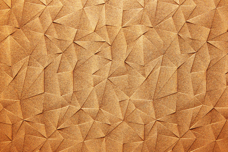 Bronze gold metal surface with abstract triangle pattern texture background.