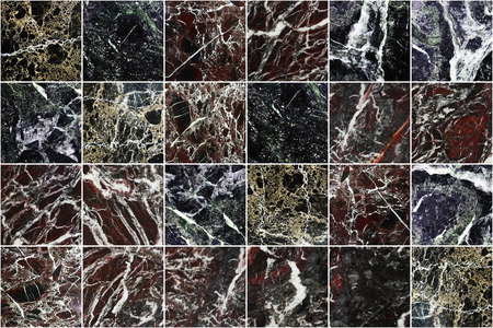 Black, grey, brown,red,yellow,green and white marble wall tiles texture background. Dark square marble tile with natural pattern. Imagens - 124533848