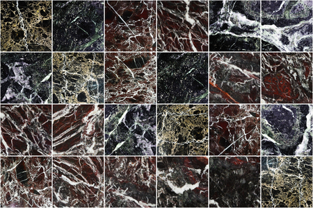Black, grey, brown,red,yellow,green and white marble wall tiles texture background. Beautiful dark square marble tile with natural pattern. Imagens - 124533849