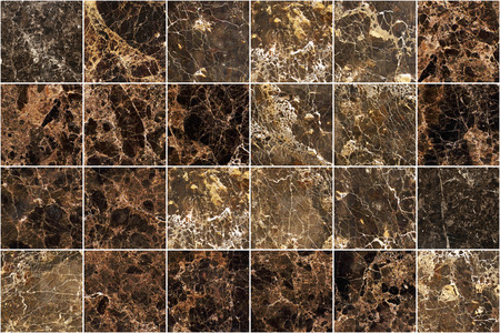 Brown marble wall tile texture background. Big square marble tile with natural pattern. Imagens - 124533852