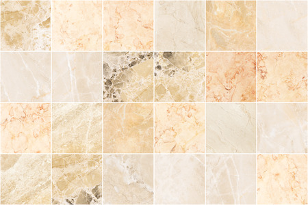 Beige marble wall tile texture background. Big square marble tile with natural pattern. Imagens - 124533854