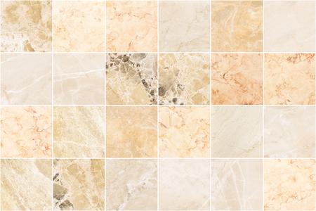 Fondo di struttura delle mattonelle della parete di marmo beige. Piastrella quadrata in marmo con motivo naturale.