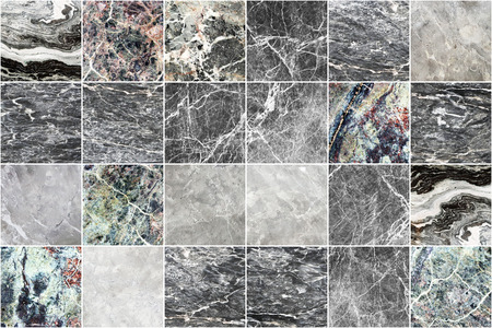 Grey marble wall tile texture background. Big square marble tile with natural pattern. Imagens - 124533858
