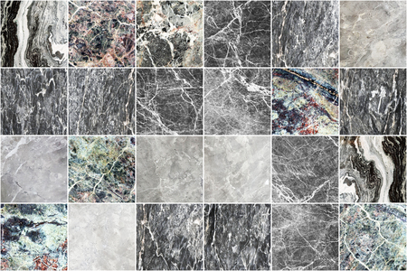Grey marble wall tile texture background. Square marble tile with natural pattern. Imagens - 124533859