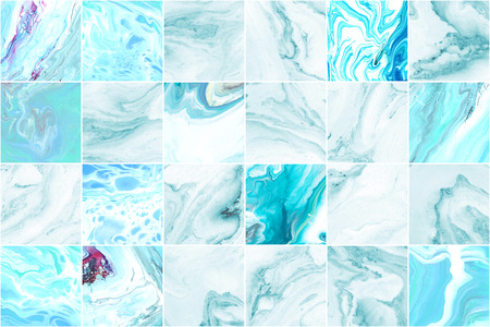 Azure blue marble wall tile texture background. Big square marble tile with natural pattern.