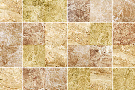 Brown marble mosaic wall tile texture background. Square marble tile with natural pattern. Imagens - 124533758