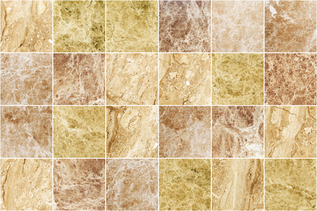 Brown marble mosaic wall tile texture background. Big square marble tile with natural pattern. Imagens - 124533759