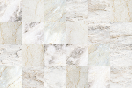 White and grey marble mosaic wall tile texture background. Square marble tile with natural pattern. Imagens - 124533760