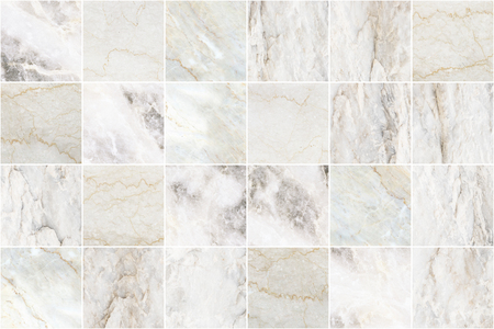 White and grey marble mosaic wall tile texture background. Big square marble tile with natural pattern. Imagens