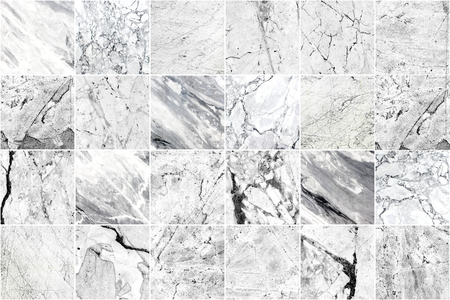 White and grey marble mosaic wall tile texture background. Big square marble tile with natural grunge pattern. Imagens - 124533762