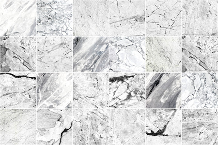 White and grey marble mosaic wall tile texture background. Square marble tile with natural grunge pattern. Imagens - 124533763