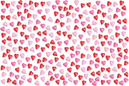 Red, pink and purple balloon hearts isolated on white background. Seamless pattern.