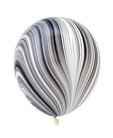 Beautiful stripped black and white balloon isolated on white background.