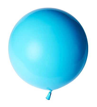 Big bright blue balloon isolated on white background. Imagens