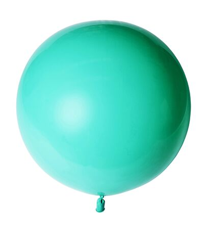 Big beautiful azure green balloon isolated on white background. Imagens - 124845930