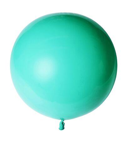 Big beautiful azure green balloon isolated on white background.