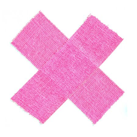 Bright pink matte cloth gaffer tape cross isolated on white background.