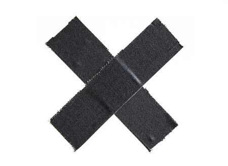 Black matte cloth gaffer tape cross isolated on white background.