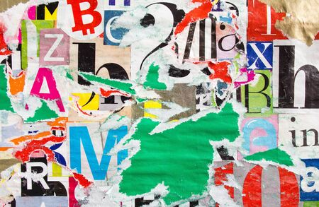 Old dirty torn paper posters and placards. Colorful collage from clippings with letters and numbers texture background. Stock fotó