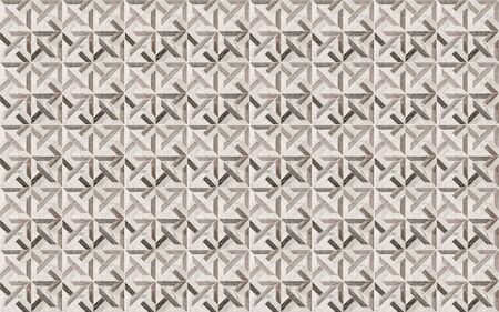 White, beige, brown and black square marble stone wall tiles with abstract geometry pattern.