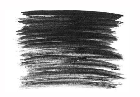 Black abstract hand painted brush strokes and stain isolated on white background. Standard-Bild