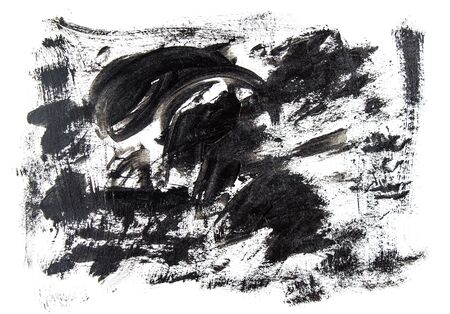 Black acrylic brush strokes, scribble and stain on white canvas. Abstract grunge handmade drawing. Stok Fotoğraf