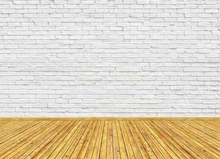3D rendering mockup of empty living room with vintage wooden parquet floor and white painted brick wall. Can be used for design interior.