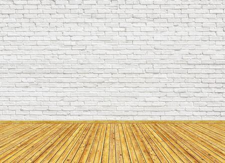 Modello di rendering 3D di un soggiorno vuoto con pavimento in parquet in legno vintage e muro di mattoni verniciato bianco. Può essere utilizzato per interni di design.