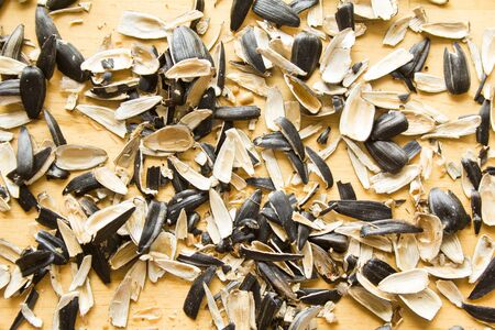 Closeup pile of peels from sunflower seeds on wooden surface background. Banco de Imagens