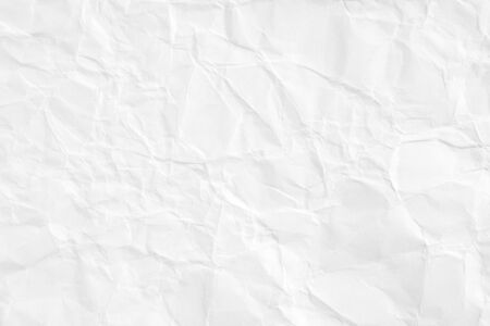 Closeup white crumpled sheet of paper texture background.