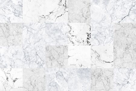 White grey square marble tiles texture background. Grey marble wall with natural pattern.