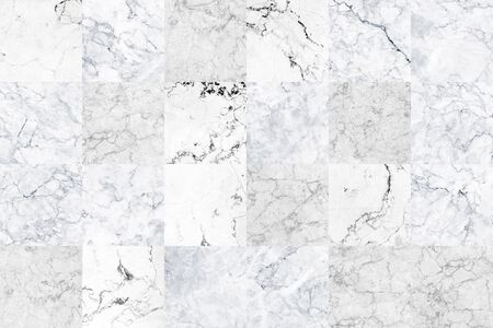 Big white grey square marble tiles texture background. Grey marble wall with natural pattern.
