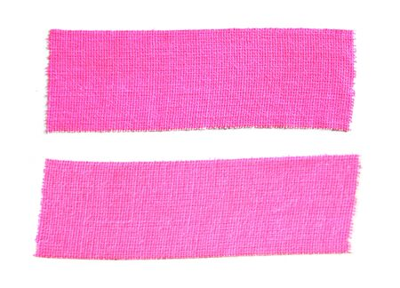 Two pieces of pink matte cloth gaffer tape isolated on white background.