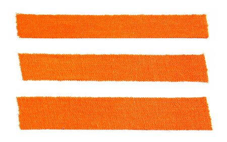 Three pieces of orange matte cloth gaffer tape isolated on white background.