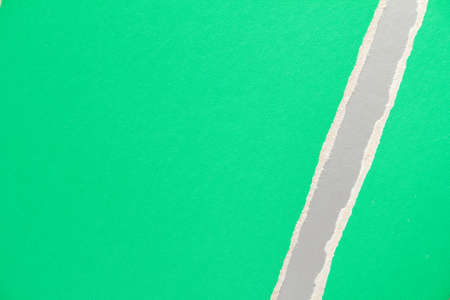 Green torn sheet of cardboard paper with silver gray stripe texture background. Stock fotó
