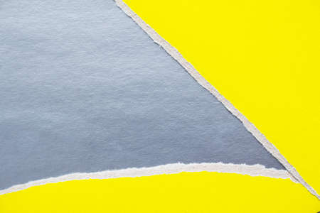 Yellow torn sheet of cardboard on silver gray paper texture background. Can be used for text.